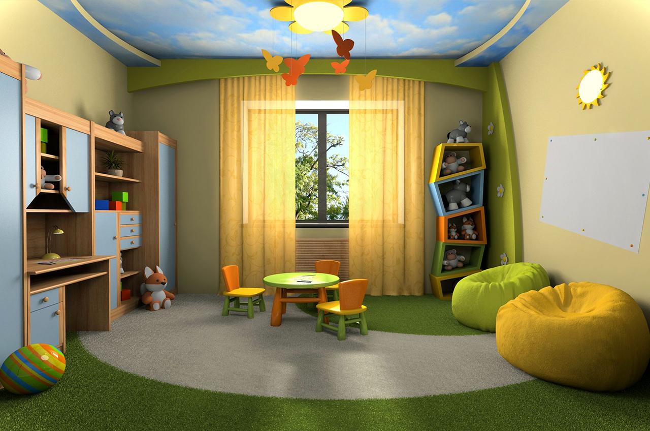 Интерьер комнаты из гипсокартона